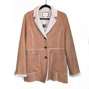 NWT Forever 21 Tan Faux Suede Fuzzy Long Coat